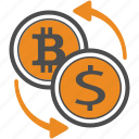 bitcoin, bitcoins, exchange icon