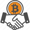bitcoin, bitcoins, contract, deal icon