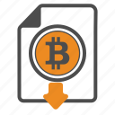 bitcoin, bitcoins, document, documentation, download icon