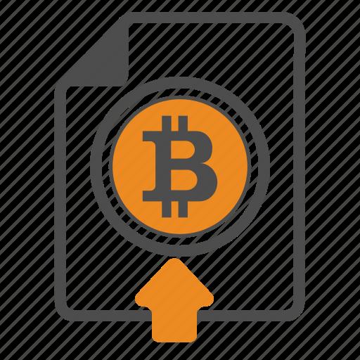 bitcoin, bitcoins, document, documentation, upload icon