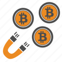 attraction, bitcoin, bitcoins, magnet icon