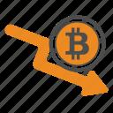 bitcoin, bitcoins, descending, down icon
