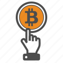 bitcoin, bitcoins, hand icon