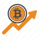 ascend, bitcoin, bitcoins, increase, up icon