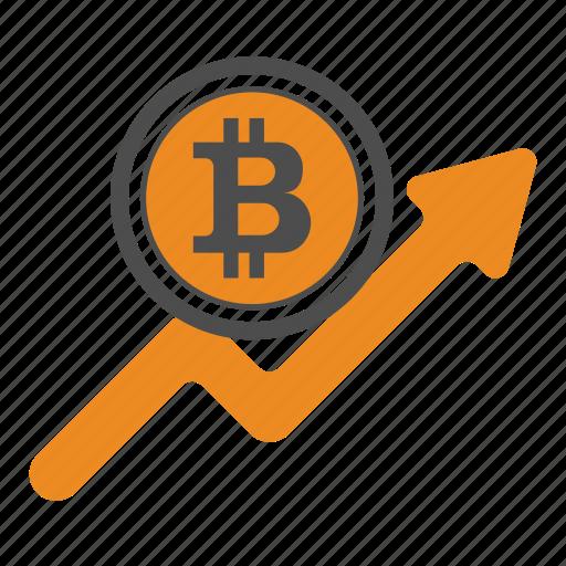 ascend, bitcoin, bitcoins, increase, up icon