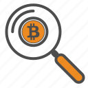 bitcoin, bitcoins, magnifier, search, zoom icon