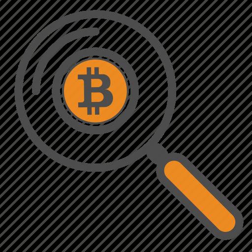 bitcoin, bitcoins, magnifier, search, zoom icon