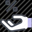 discount, sale, hand, percent, promo icon