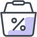 discount, shopping, cart, sale, percentage, promo icon