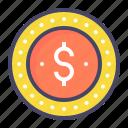 coin, dime, dollar, penny icon