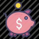 bank, banking, pig, piggy, save, savings icon