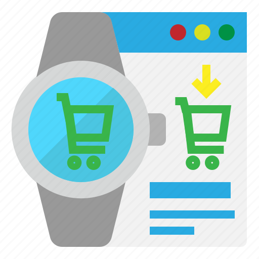 buy, online, shopping, smart, watch icon