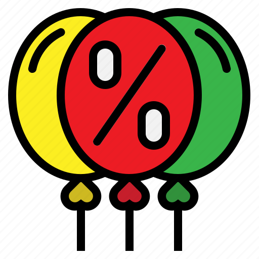 balloon, discount, offer, party, percentage icon