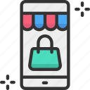 mobile store, online shopping, shopping, web icon