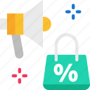 sale, discount, megaphone icon