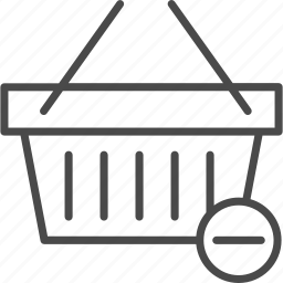 basket, deduct, minus, online, retail, shop, shopping icon