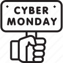 black friday, board, cyber, holding, monday, sign icon