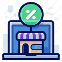 laptop, online, sale, shopping, store icon
