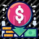 decrease, dollar, price, sale, shopping icon