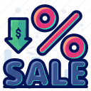 discount, percentage, price drop, sale, shopping icon