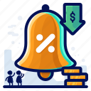 alert, bell, notification, percentage, sale, shopping icon
