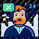 24h, avatar, customer, ready, sales, service icon