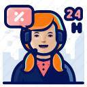 24h, avatar, contact, support icon