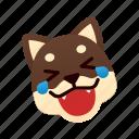 black shiba inu, emoji, laugh with tear, emotional, funny, laughing, joke