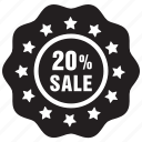 badge, label, offer, percent, sale, tag, twenty icon