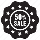 fifty, label, offer, percent, sale icon