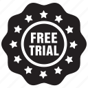free, label, shopping, sign, trial icon