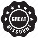 discount, great, label, offer, sale icon