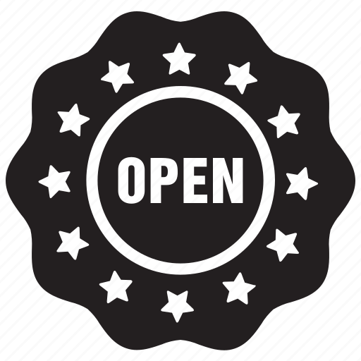 badge, label, open, tag icon