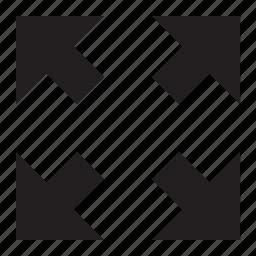arrows, diagnol, expand, four icon