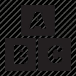 abc, alphabet, blocks, children, education, kids, learning, letter, school icon