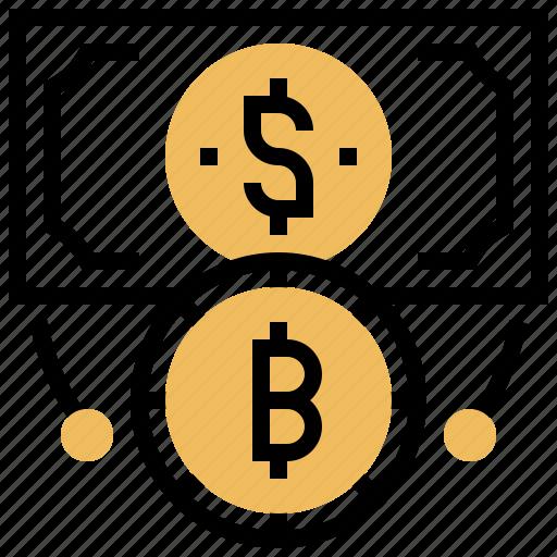 bitcoin, cryptocurrency, electronic, exchange, finance icon