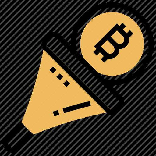 bitcoin, blockchain, filter, network, transaction icon