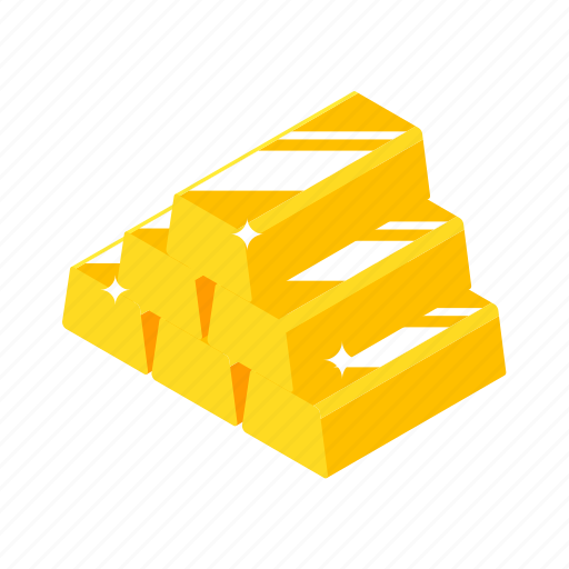 bank, business, currency, finance, gold, isometric, luck icon