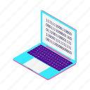 blockchain, code, development, isometric, laptop icon