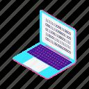 code, development, isometric, laptop, blockchain