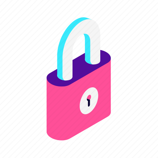 isometric, key, lock, padlock, password, safe, safety, secure, security, shield icon