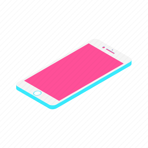 call, iphone, isometric, mobile, phone, smartphone, technology icon