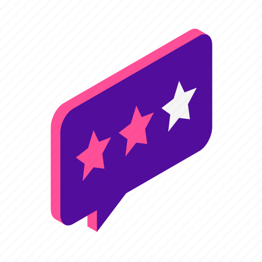 feedback, isometric, rating, review, star icon