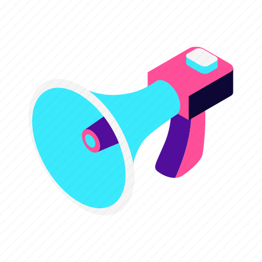 blockchain, isometric, marketing, multimedia, seo, sound, speaker, viral marketing icon