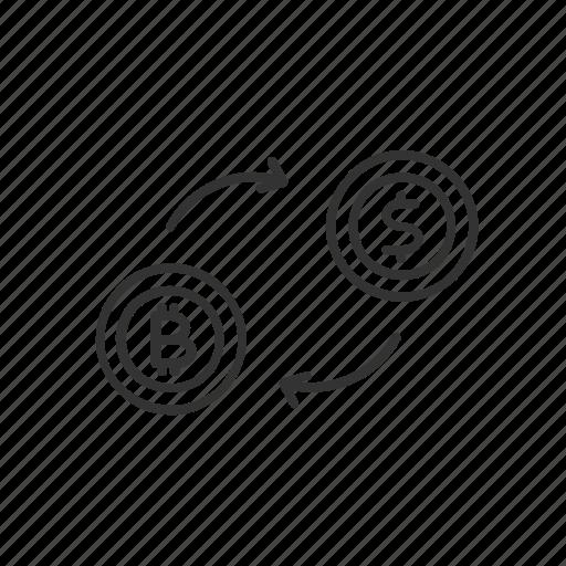 bitcoin, blockchain, currency, dollar, exchange, money, rate icon