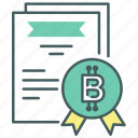 bitcoin, blcokchain, certificate, certified, credible, reliable, trustworthy icon