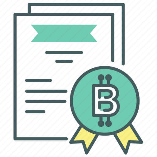Credible, blcokchain, certificate, reliable, bitcoin, trustworthy, certified icon