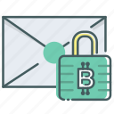 bitcoin, blcokchain, encrypt, envelope, letter, mail, seal icon