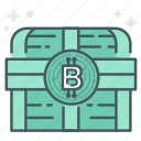 bitcoin, blcokchain, chest, encrypt, lock, secure, treasure icon