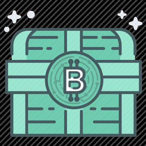 bitcoin, blcokchain, chest, encrypt, lock, secure, treasure icon